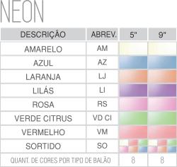Tabela de cores neon
